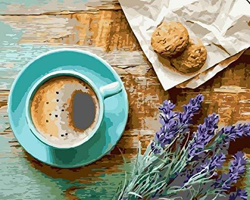 QAZZSF Malen Nach Zahlen Für Erwachsene,DIY Acrylmalerei Nach Zahlen Kit Für Erwachsene Kinder,Lavendel Kaffeetasse Kekse 40x50cm Mit Rahmen