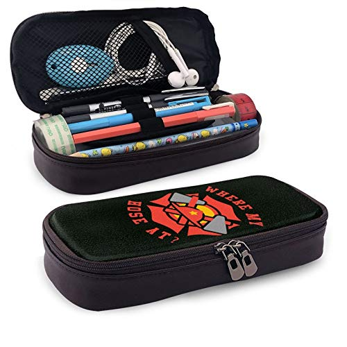 Leather Pencil Case,Where My Hose at Fireman Zippered Pen Case Stationery Bag Pencil Holder