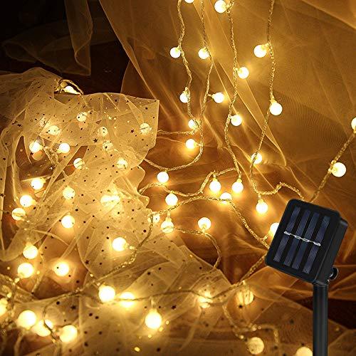 Nasharia Solar Lichterkette Ausse, 8 Meter 60 LED Außen 8 Modi Laterne IP65 Wasserdicht Solar Beleuchtung für Garten, Hof, Balkon, Hochzeit, Fest Deko(Warmweiß)
