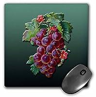 3drose LLC 8x 8x 0.25インチマウスパッド、Bunch of Dark Red Grapes with小さな赤い花( MP _ 170800_ 1)