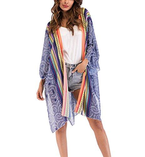 Dames Kimono Cardigan zomer strand vintage print chiffon blouse tuniek elegante feestelijke kleding meisjes mode lange mouwen Boho etnische stijl losse casual luchtig hippie bikini cover up