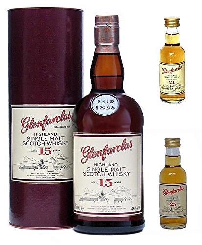 Glenfarclas 15 Jahre Single Malt Tasting Pack 0,7 Liter + Mini 21 Jahre 5 cl + Mini 25 Jahre 5 cl