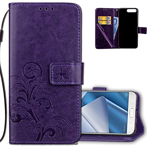 ASUS ZenFone 4 Pro Wallet Case Leather COTDINFORCA Premium PU Embossed Design Magnetic Closure Protective Cover with Card Slots for ASUS ZenFone 4 Pro (ZS551KL). Luck Clover Purple