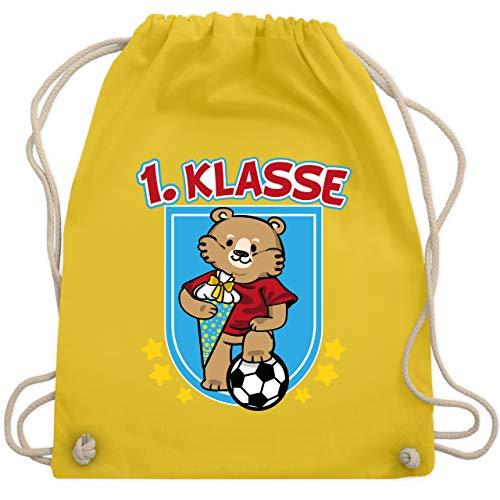 Shirtracer Einschulung und Schulanfang - 1. Klasse - Bär mit Fußball und Schultüte - Unisize - Gelb - Bär - WM110 - Turnbeutel und Stoffbeutel aus Baumwolle