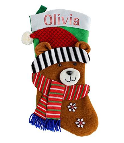 Weihnachtsstrümpfe mit 3D-Effekt, personalisierbar, 2 Stück 2 x Reindeer Christmas Stocking