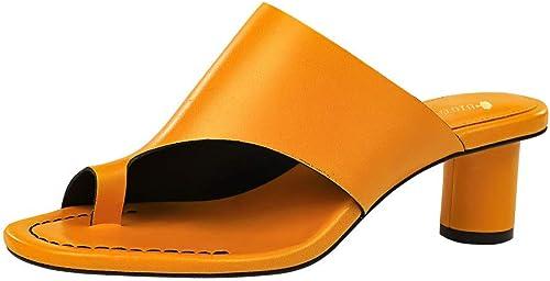 SYXLBDK Zapato mujer Casual Retro Hauszapatos Tacon De 5 Cm De Alto Tacon Tacon Circular Grueso Hueco Toe Hauszapatos