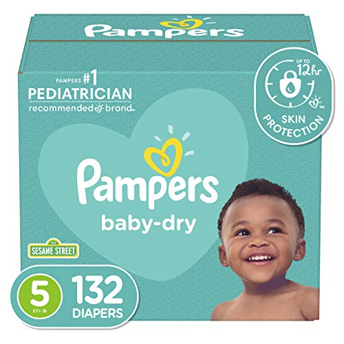 Diapers Size 5, 132 Count - Pampers Baby Dry Disposable Baby Diapers,...