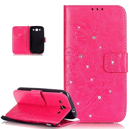 Kompatibel mit Galaxy S3 Neo Hülle,Galaxy S3 Hülle,Strass Glänzend Prägung Blumen Reben Schmetterling PU Lederhülle Handyhülle Taschen Flip Wallet Ständer Schutzhülle für Galaxy S3/S3 Neo,Rose Red