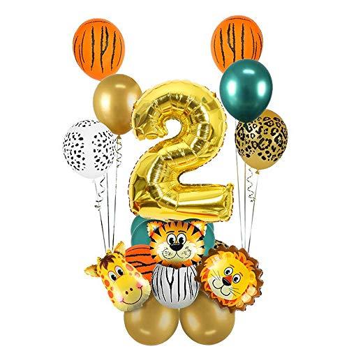 2 año Decoración de cumpleaños de la Jungla, MMTX Decoración de Primer Cumpleaños de Safari, Globo Dorado número 2, Globos de Papel de Aluminio de Animales del Bosque sa