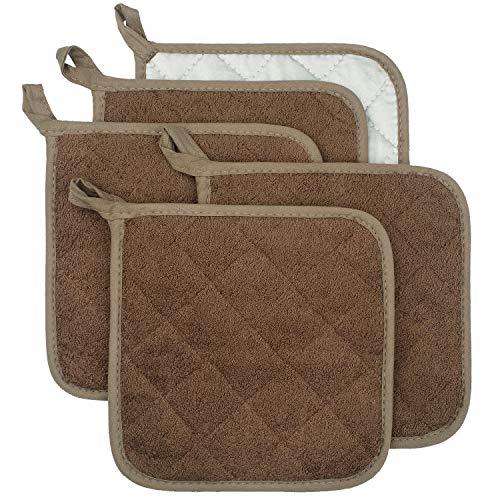 Set de 5 agarradores de 100% algodón resistentes al calor, para usar como posavasos, cocinar y hornear.