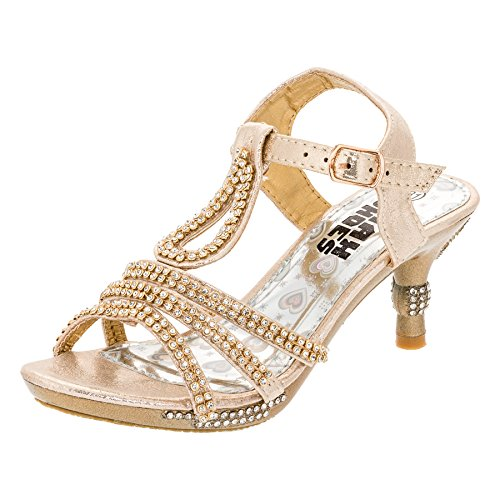 Festliche Mädchen Pumps Sandalen Absatz Glitzer Mädchenschuhe in vielen Farben M318go Gold Gr.25