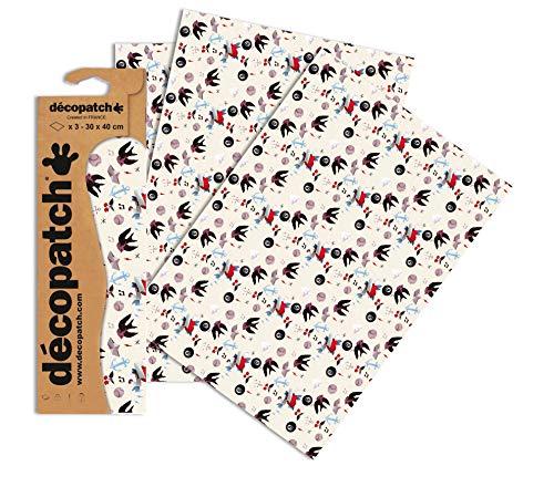 Decopatch Papier No. 763 (creme schwarz Tatoo, 395 x 298 mm) 3er Pack
