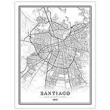 YUAN Leinwand Bild,Chile Santiago Stadt Karte Schwarz Weiß