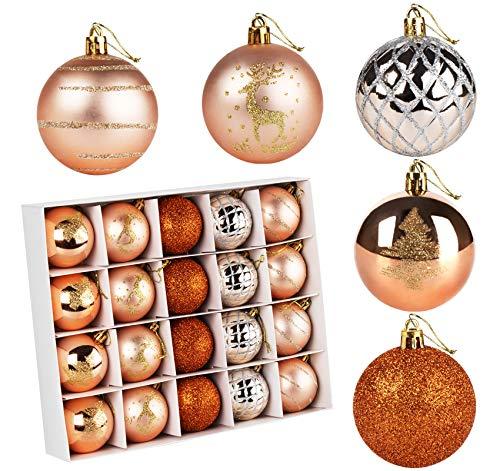 ilauke Boules de Noël Or, 20PCS Boules de Décoration en Plastique pour Sapin de Noël Ø6CM Boules de Sapin pour Décoration darbre De Noël