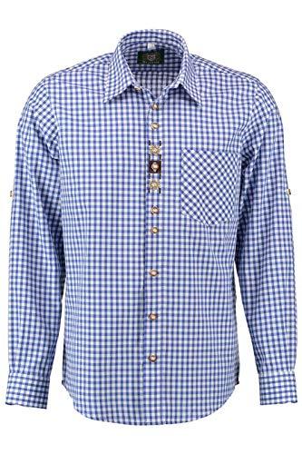 Orbis Textilien Trachtenhemd für Lederhosen Langarm Trachtenmode mit Blumen Stickerei, Dunkelblau, L