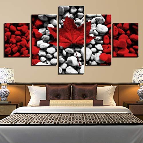 Lienzo Arte de la Pared Imagen Decoración para el hogar Bandera de Canadá Pintura Hoja de Arce roja