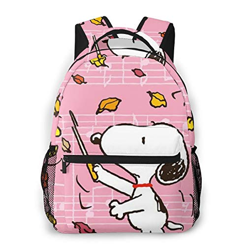 Commander Snoopy Casual Backpack Zipper School Bag Travel Daypack Men Women Teens Gift
