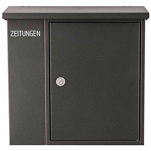 HEIBI cassetta delle lettere con scomparto porta giornali integrato, acciaio grigio, altezza circa 40 cm