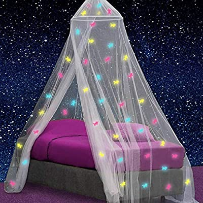 UB-STORE Canopy for Girls Bed with Pre-Glued Glow in The Dark Unicorns - Princess Mosquito Net Room Decor - Kids & Baby Bedroom Tent with Galaxy Lights - 1 Opening Canopy Bed & Hanging Kit Included by UB-STORE