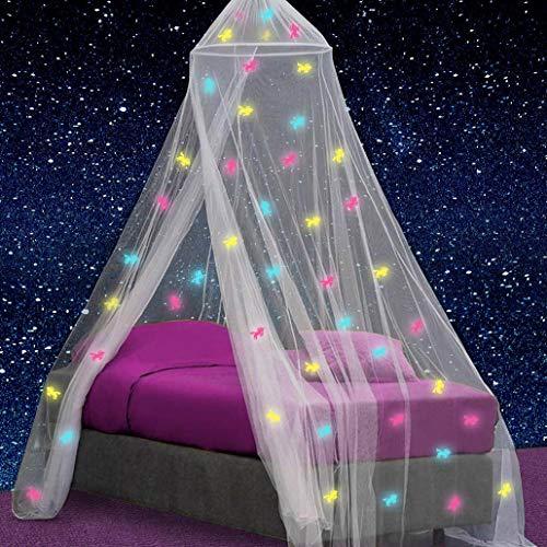 Toldo para cama de niña con unicornios prepegadas que brillan en la oscuridad – Princesa Mosquitera Decoración de la habitación – Tienda de dormitorio infantil y bebé con luces galaxias