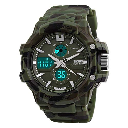 Styleflix Analogue + Digital Multifunctional Stainless Steel Dual Time Dial Army Watches, Sports Watches for Boys and Mens