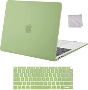 MOSISO Compatible with MacBook Air 13 inch Case 2020 2019 2018 Release A2337 M1 A2179 A1932 Retina Display with Touch ID, Plastic Hard Shell Case & Keyboard Cover & Wipe Cloth, Avocado Green