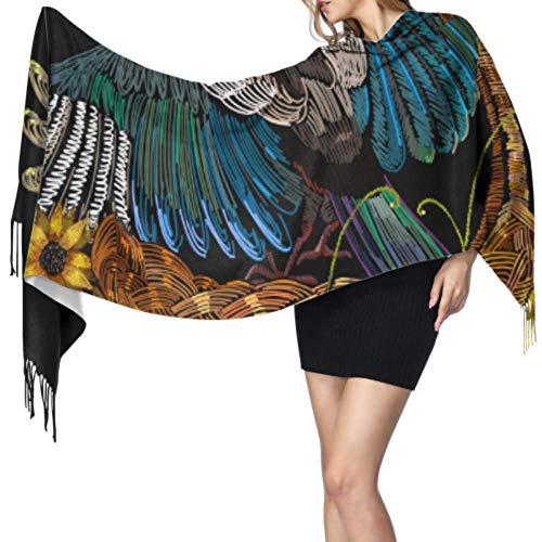 Chal caliente bufanda moda largo chal bordado urraca pájaros cestas de mimbre girasoles grande suave imitación cachemira pashmina abrigos bufanda ligera borla