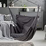 Fundouns Hammock Chair Hanging Swing Chair with 2 Cushions, Hanging Chair for Indoor and Outdoor, 350 lbs Weight Capacity (Grey, One Size)