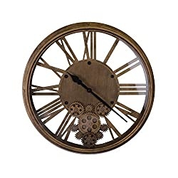 IMPORTED GIFT DEPOT Vintage Style Metal Skeleton Wall Clock with Moving Gears and Roman Numerals on Glass