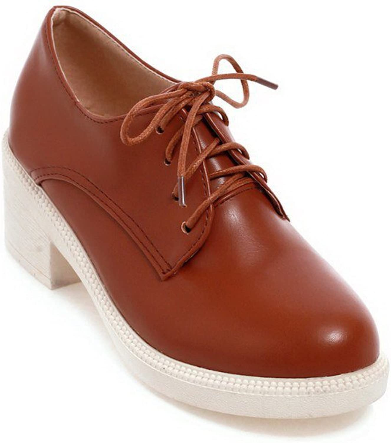 AllhqFashion Women's Lace-up Kitten-Heels PU Solid Round Closed Toe Pumps-shoes with Knot