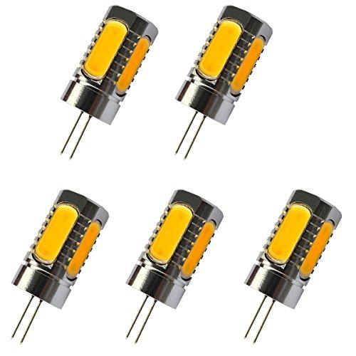 Aoxdi 5X G4 LED COB Leuchtmittel 6W, DC12V, Warmweiß, LED Lampe G4 COB LED Birne Licht