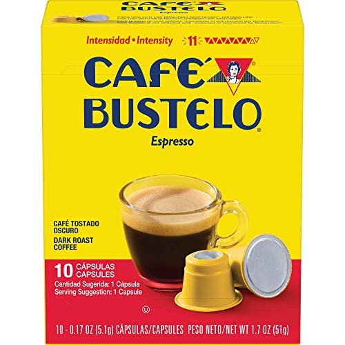 Cafe Bustelo Espresso Dark Roast Coffee, 40 Count Capsules for Espresso Machines
