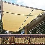 DZAY Toldo rectangular de tejido HDPE para terraza, arena con cuerdas de fijación, protección solar contra el viento, protección UV, lona Permeable para terraza, balcón y jardín (1 x 1 m)