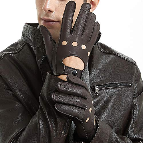 ZQ-Collection Herren Handschuhe Lederhandschuhe für fahren Ungefüttert Handschuhe Brown,S