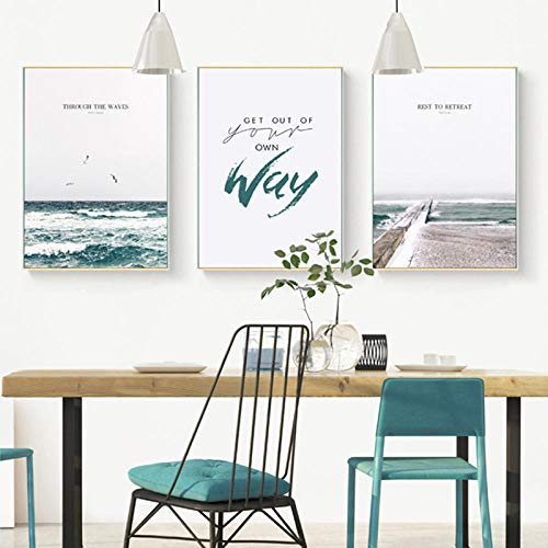 YCHND Simplicidad nórdica mar océano Paisaje Lienzo Pintura Carteles impresión Pared Arte Imagen Moderna Sala de Estar decoración del hogar Imagen 40x60cmx3 sin Marco