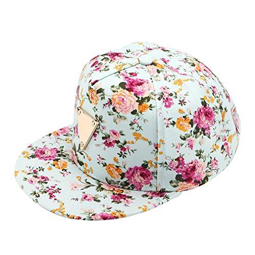Damen Mützen Schirmmütze Mode Blumen Basecap Chic Chic Baseball Kappe Cap Hip Hop Verstellbar Cap Caps (Color : Grün, Size : One Size)