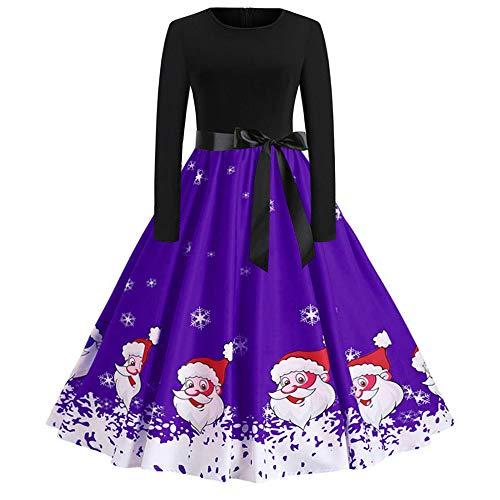VEMOW Heißer Weihnachten Abendkleid Langarm O-Ausschnitt Cocktailkleid Casual Täglichen Druck Vintage Kleid Abend Party Kleid Herbst Winter Frühling(Y6-Violett, 32 DE/S CN)