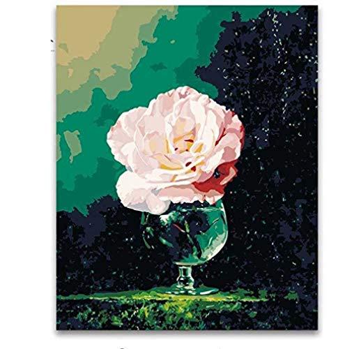 JFZJFZ pioenrozen vaas bloem DIY digitaal olieschilderij van cijfers op canvas kunst nobele klassieke muurdecoratie schilderijen frameloze 40x50cm digitaal schilderij