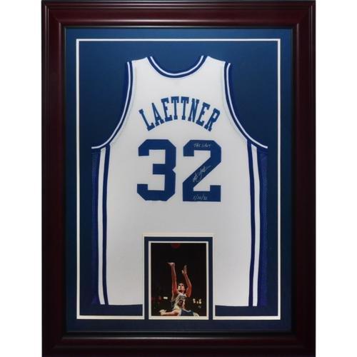 """Christian Laettner Autographed Duke Blue Devils (White #32) Deluxe Framed Jersey w/""""The Shot, 3/28/92"""""""