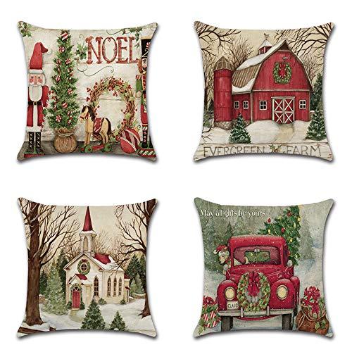 Neusky 4er Set Dekorativ Kissenbezug Geometrische Muster 45 x 45cm Sofa Büro Dekor Kissenhülle aus Baumwoll und Leinen (Weihnachtsmann)
