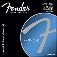 Fender エレキベース弦 Original 7150 Bass Strings, Pure Nickel, Roundwound, Long Scale, 7150XL .040-.095, Set of 4