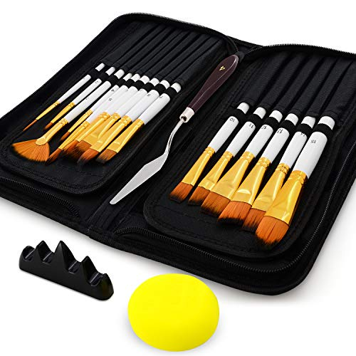 18 Pack Paint Brushes for Acrylic Painting on Canvas, Details Oil Gouache Watercolor Paint Brush Set with Pop-up Case and Brush Rest Holder (Black & White)