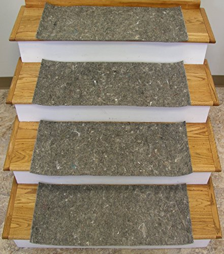 Rug Depot Stair Runner Padding - 12 Pad Treads - 24' x 12' - Custom Cut to Fit Your 26' or 27' Wide Stair Runner - 3/8' Thick - Synthetic Jute Top and Rubber Backing