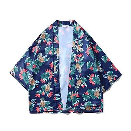 Lihcao Bata Kimono Japonés De Impresión De Piña Manga Recortada Pierden Los Hombres Y Mujeres De La Chaqueta Kimono (Color : Blue, Size : L)