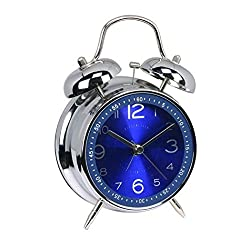 FUNRUI 4 Metal Twin Bell Alarm Clock, Retro Vintage Desk Table Bedside Silent Analog Quartz Alarm Clock for Heavy Sleepers Kids Home Bedrooms Travel School Battery Operated with Light (Blue)