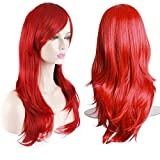 AKStore Fashion Wigs 28' 70cm Long Wavy Curly Hair Heat Resistant Wig Cosplay Wig For Women With Free Wig Cap (Red)