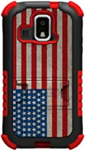 Beyond Cell Tri-Shield Durable Hybrid Hard Shell and Silicone Gel Case for Kyocera Hydro XTRM C6721 - American Flag - Retail Packaging - Black/Red