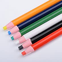 Stock Show 6Pcs Assorted Color(Blue/Red/Green/Black/White/Yellow) Professional Free Cutting Chalk Pencil Sewing Mark, Tailor's Marking and Tracing Tools