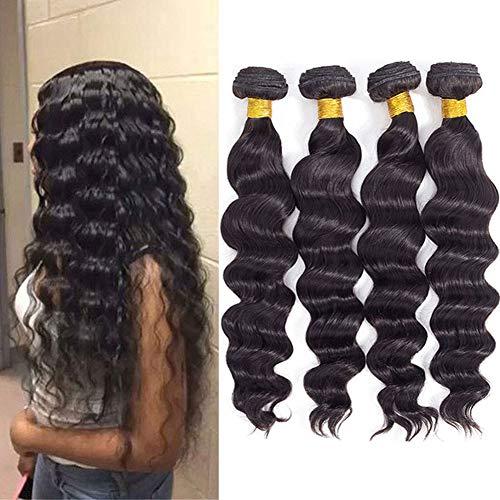 "10A Brazilian Virgin Loose Wave Hair 4 Bundles 20"" 22"" 24"" 26"" Brazilian Virgin Human Hair Bundles 100% Unprocessed Virgin Remy Hair Bundles Natural Color"