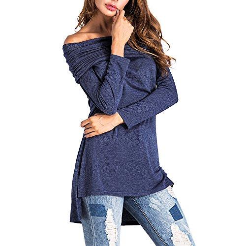 WARMWORD Mujeres Casual Tops Fuera de Los Hombros Manga Larga Sexy Blusa Elegante Top Camisas Mujer Slash Neck Mangas largas Color Puro Tapas Tops Suelto Blusa Camisa